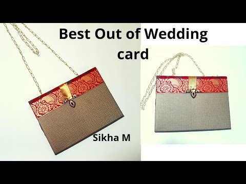 best-out-of-old-wedding-cards-|-reuse-of-old-marriage-cards-|-purse-making-|-sikha-m
