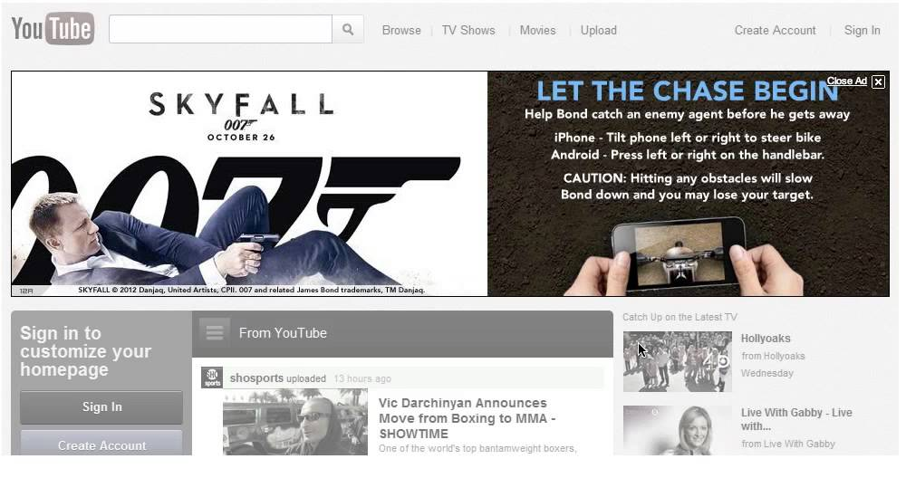 Skyfall - Sony Pictures UK - Interactive Masthead - Phone to Computer