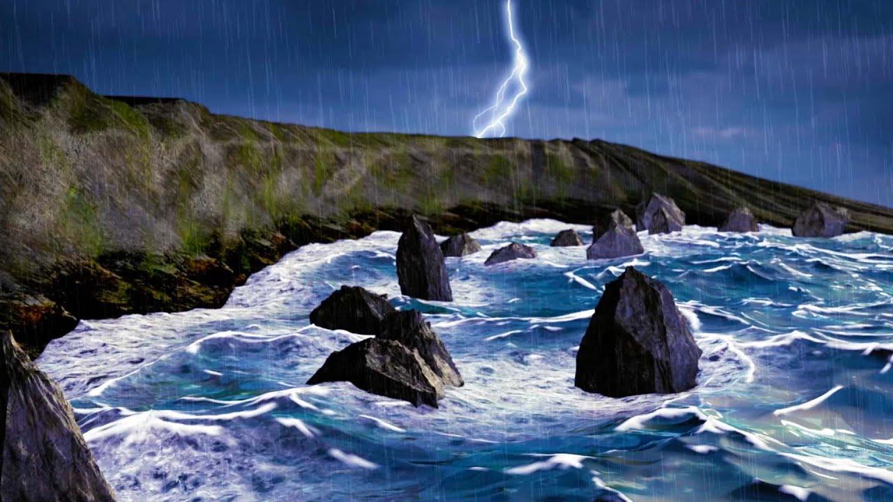 Rain + Thunder + Ocean Waves | Sleep, Study, Relax | Rainstorm White Noise  10 Hours