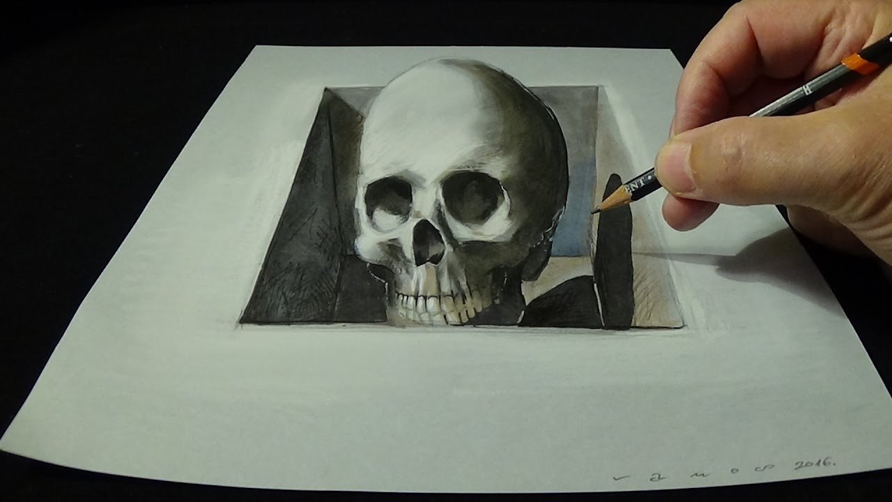 Drawing skull from the hole trick art 3d youtube for How to make creative drawings
