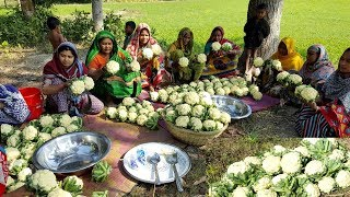 Cauliflower Pakura/Chop Prepared By Women - 80 KG Cauliflower Pakura Making To Feed Village Kids