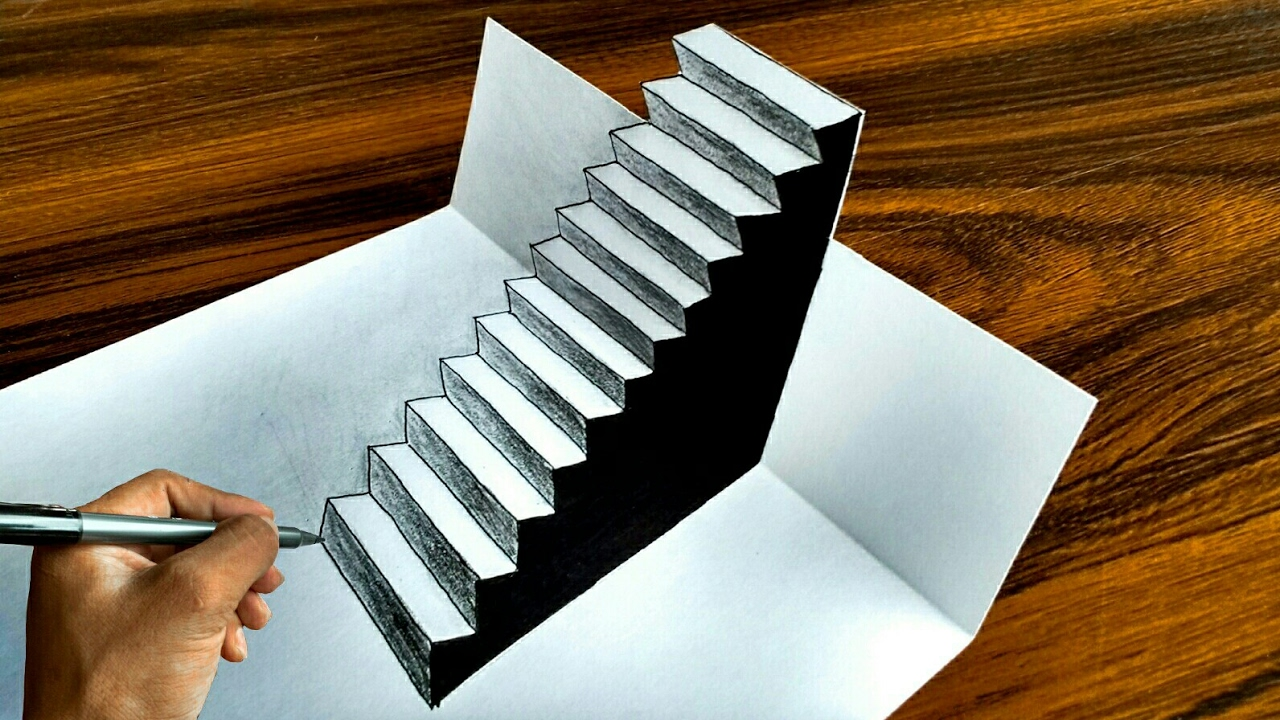 optical easy illusion 3d steps draw
