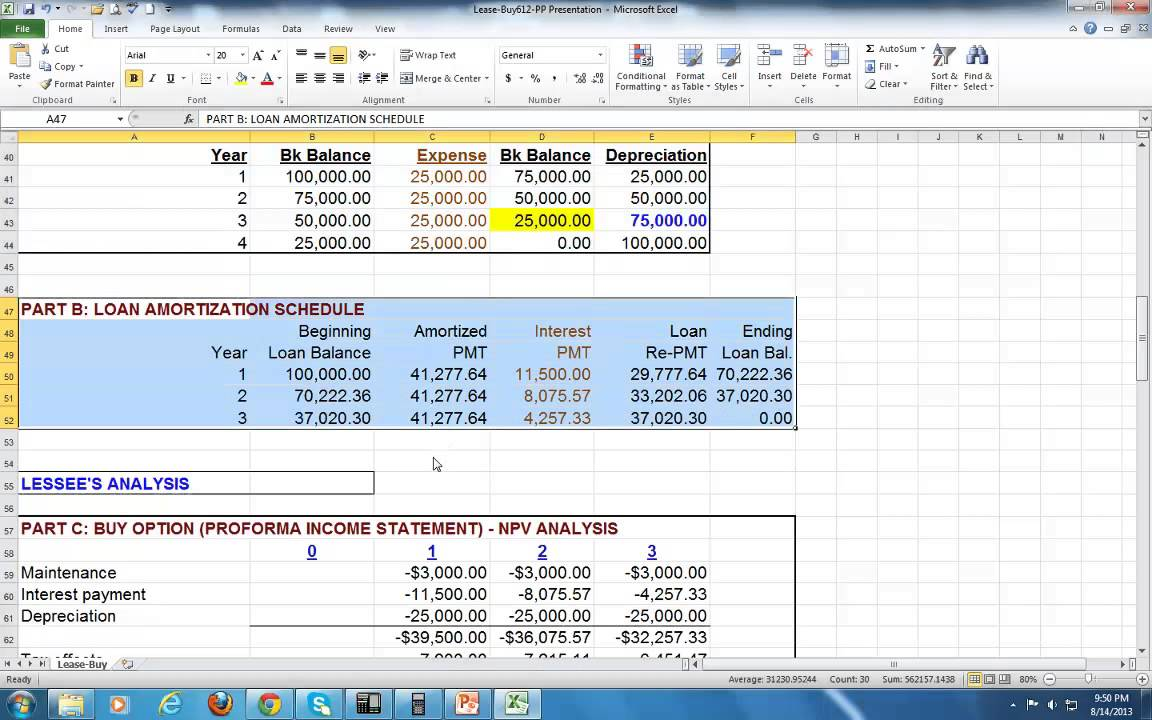lease buy analysis ex1 pat obi youtube