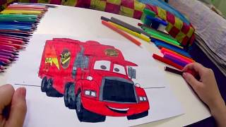 (PINTURAS) veja como pintar e colorir desenho do caminhao MACK carros 3 disney pixar