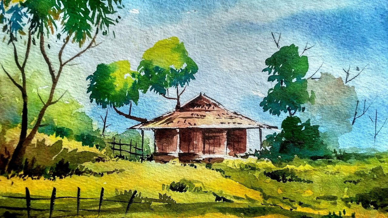 Watercolor Painting Easy Tutorial Landscape How To Paint A Tree Sky House You