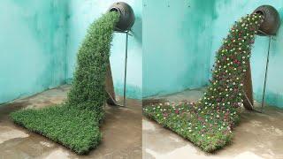DIY A Beautiful Waterfall Garden Growing Portulaca (Mossrose)