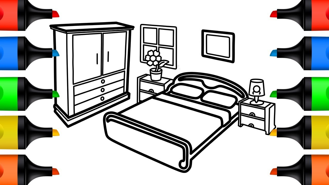 how to draw bedroom coloring pages for kids learn colors drawing
