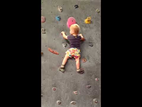 Baby climbing indoors