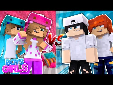 BOYS VS GIRLS SLEEPOVER ! Minecraft Little Kelly w/Little Carly , Raven and Leo