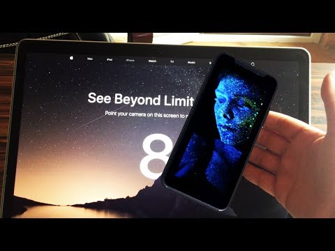 Concept of iPhone 8 landing page with augmented model of phone