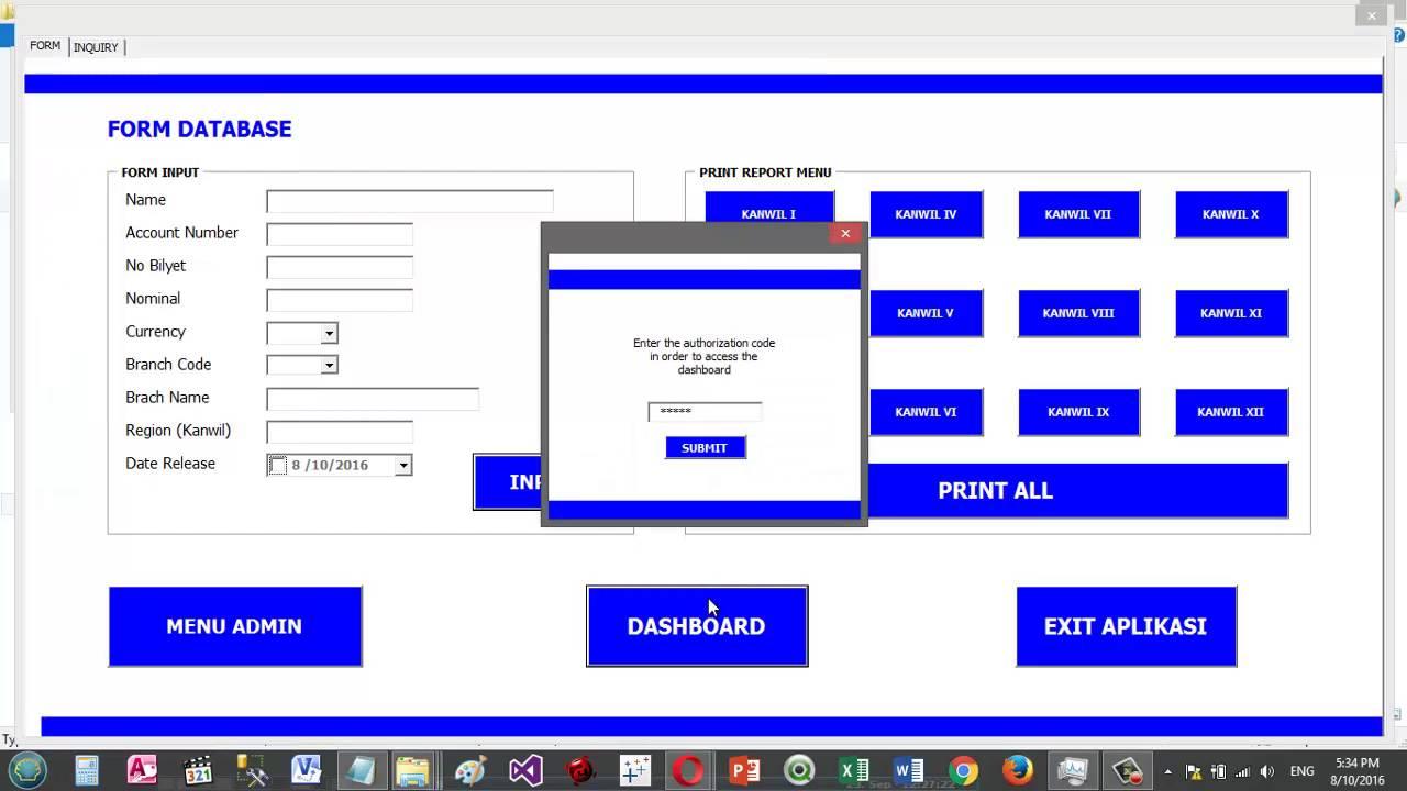 Prototype Database & Dashboard Application - VBA Macro Excel - YouTube