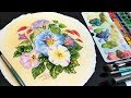LIVE! Watercolor Painting on Round Paper!