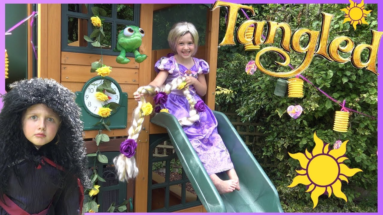Disney Princess Rapunzel Uses Her Super Long Hair To Get Tangled Movie Toys Youtube