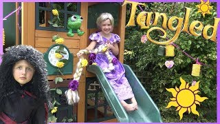Disney Princess Rapunzel uses her SUPER LONG HAIR to get Tangled Movie Toys !