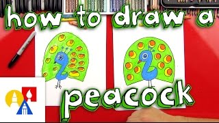 How To Draw A Cartoon Peacock (for Young Artists)