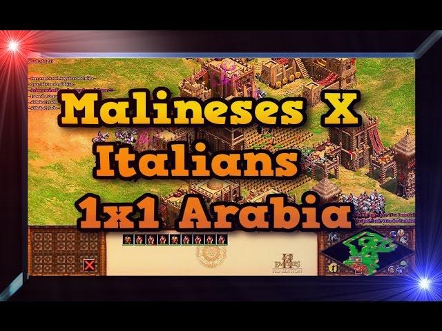 of Empires 2 HD 1x1 Arabia Malineses X Italians AoE2HD Gameplay PT BR