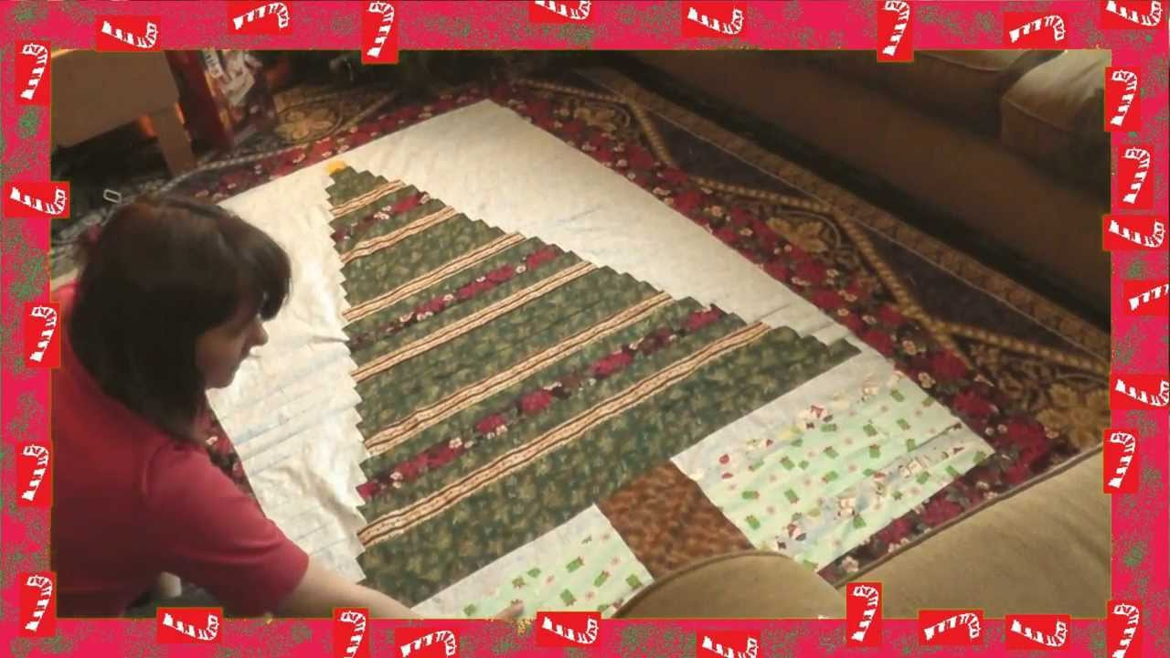 beginners christmas tree quilt from spare fabric and ribbon recycled youtube
