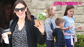 Jennifer Garner Shows Off Her Mother's Day Flowers While Leaving Church With Her Kids 5.13.18