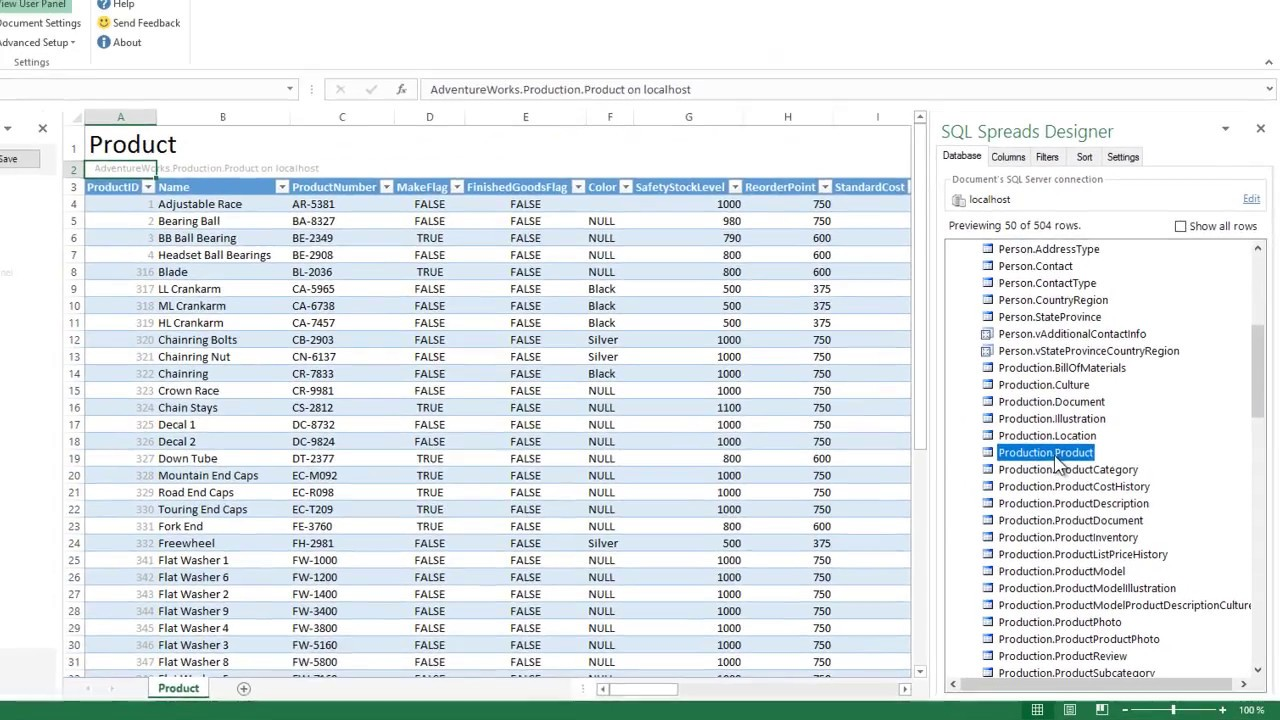 How to use the sql spreads excel add in to update the data for Sql update table