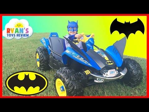 BATMAN BATMOBILE Power Wheels Batman 12V Dune Racer Powered Ride On Car for Kids Unboxing and Riding