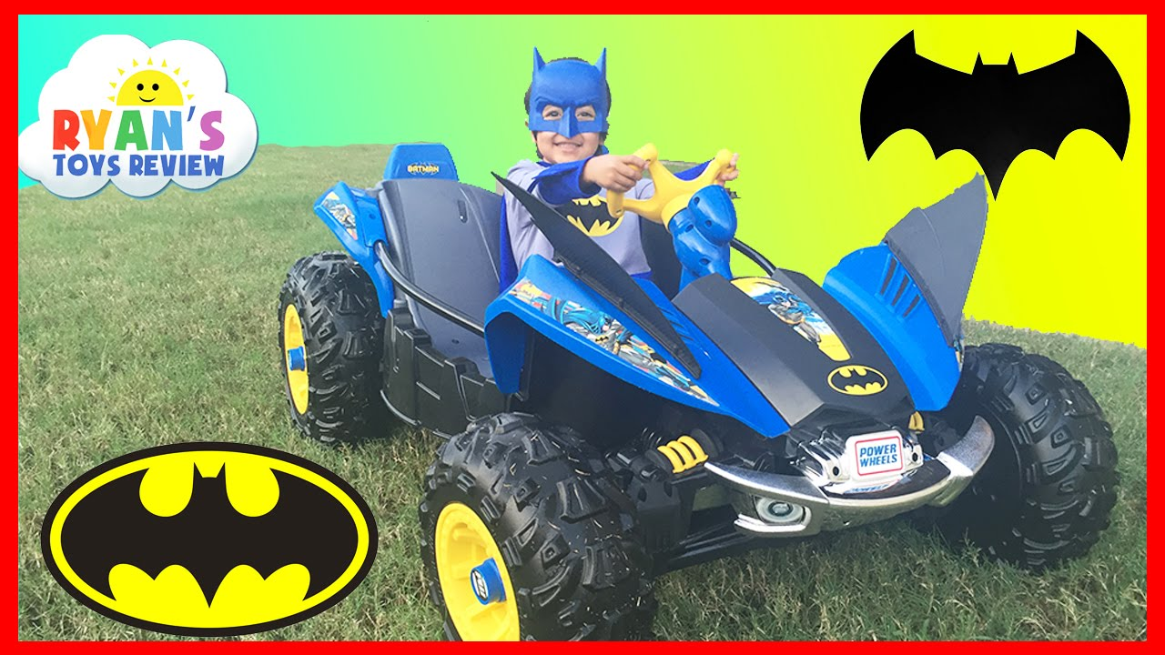 batman batmobile power wheels batman 12v dune racer powered ride on car for kids unboxing and riding youtube