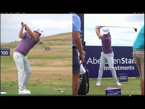 Cameron Smith golf swing - Driver & 3 wood (face-on & DTL), ASI Scottish Open, July 2018.