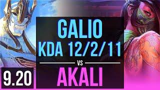 GALIO vs AKALI (MID) | KDA 12/2/11, Dominating | Korea Challenger | v9.20