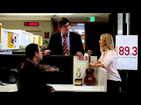 KPCC's John Rabe & Kristen Bell in Veronica Mars parody