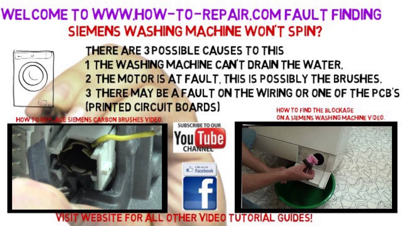 siemens washing machine won t spin fault finding guide youtube