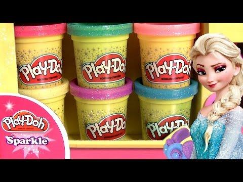 Play Doh Sparkle Glitter Com Brilho Brillante DISNEY FROZEN Princess Elsa Anna Magic Clip Dolls