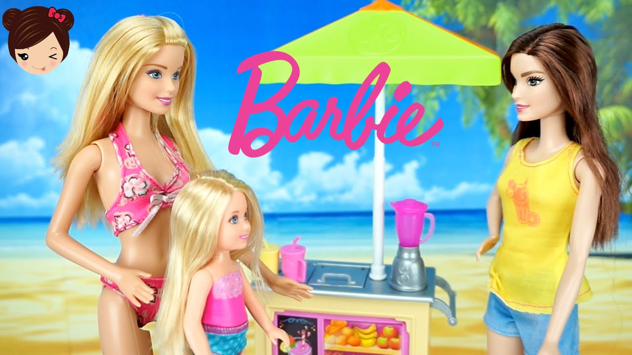 Barbie Y Sus Hermanas En La Playa Carrito De Jugos Y Batidos De