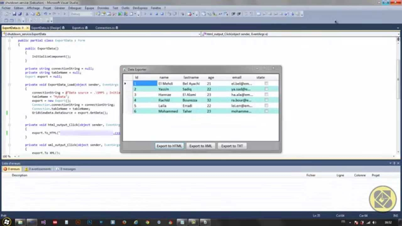 C# - Export Data From Database To [ HTML , XML and TXT ...
