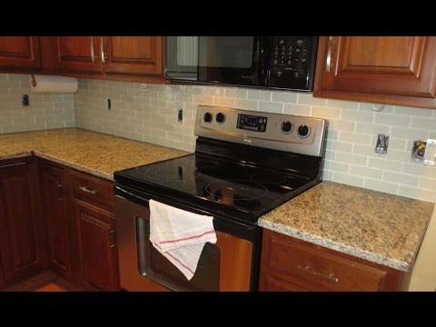 How to install a Glass tile kitchen backsplash Parts 1 & 2