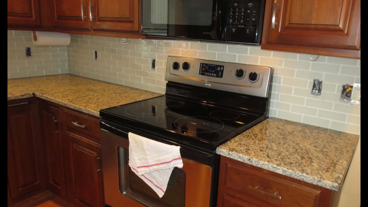 How to install a glass tile kitchen backsplash parts 1 2 youtube dailygadgetfo Choice Image