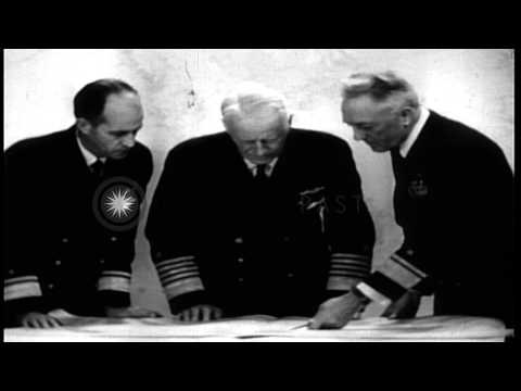 Events in career of Chester W Nimitz. The end of World War II and postwar years. HD Stock Footage