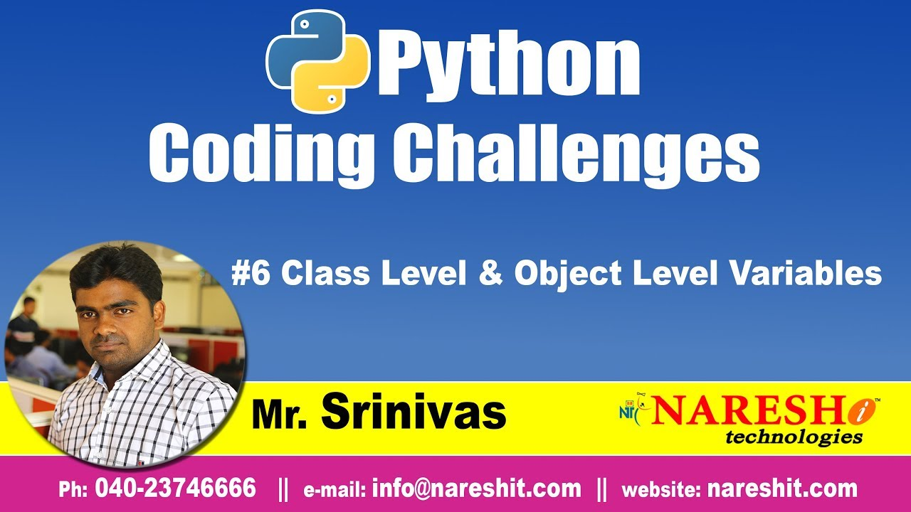 Python Challenges #6   Class Level & Object Level Variables   Python Coding  Challenges
