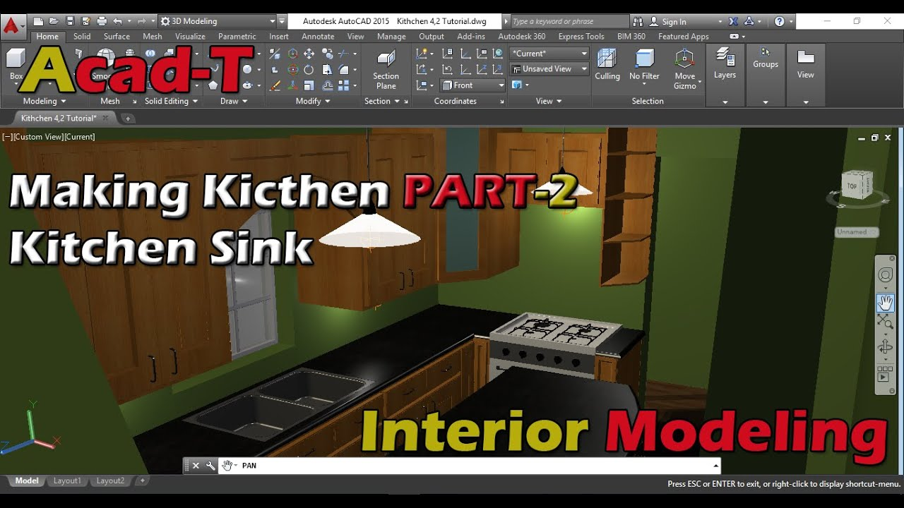 How To Make Kitchen in AutoCAD 2016 - kitchen Sinks - AutoCAD For Beginners PART-2