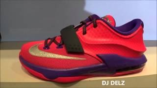 "Nike Kd 7 Vii ""raptor"" Hyper Punch/purple Gs Sneaker Review + Sizing With @djdelz"