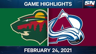 NHL Game Highlights | Wild vs. Avalanche - Feb. 24, 2021