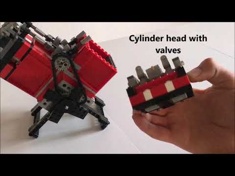 Great Sound! Big V Twin OHV motorcycle vacuum engine made of Legos! (150cc)