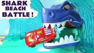 Hot Wheels Cars Shark Beach Battle Race with Disney Pixar Lightning McQueen and Superheroes