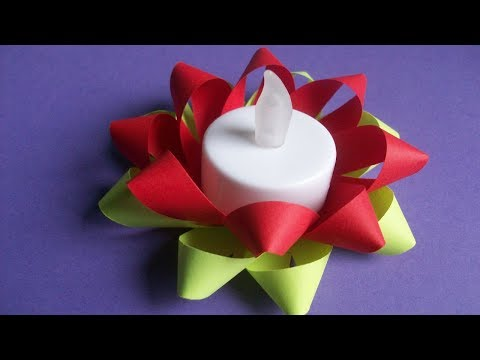 Diwali Decor Homemade Simple Candle Stand. Paper Diya Crafts. Christmas Decoration