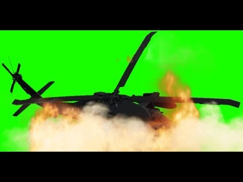 Helicopter Crash with sound - free green screen thumbnail