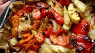Печеный картофель с болгарским перцем и средиземноморскими травами