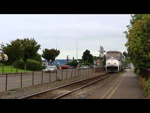 Deadhead Sounder Commuter Train making unscheduled stop at Edmonds, WA. 08/28/2014.