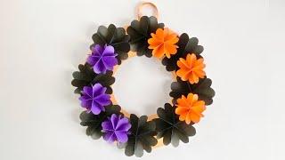 ハロウィンカラーのペーパーフラワーリース/Halloween color paper flower wreath