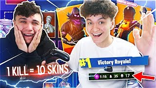 Giving My Little Brother 10 FREE SKINS For Every Kill In Fortnite: Battle Royale