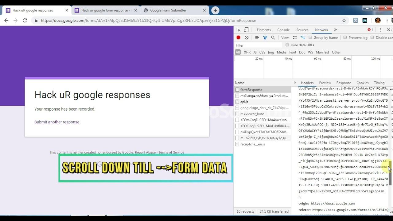 Google Form Responses Hack 2019 Youtube