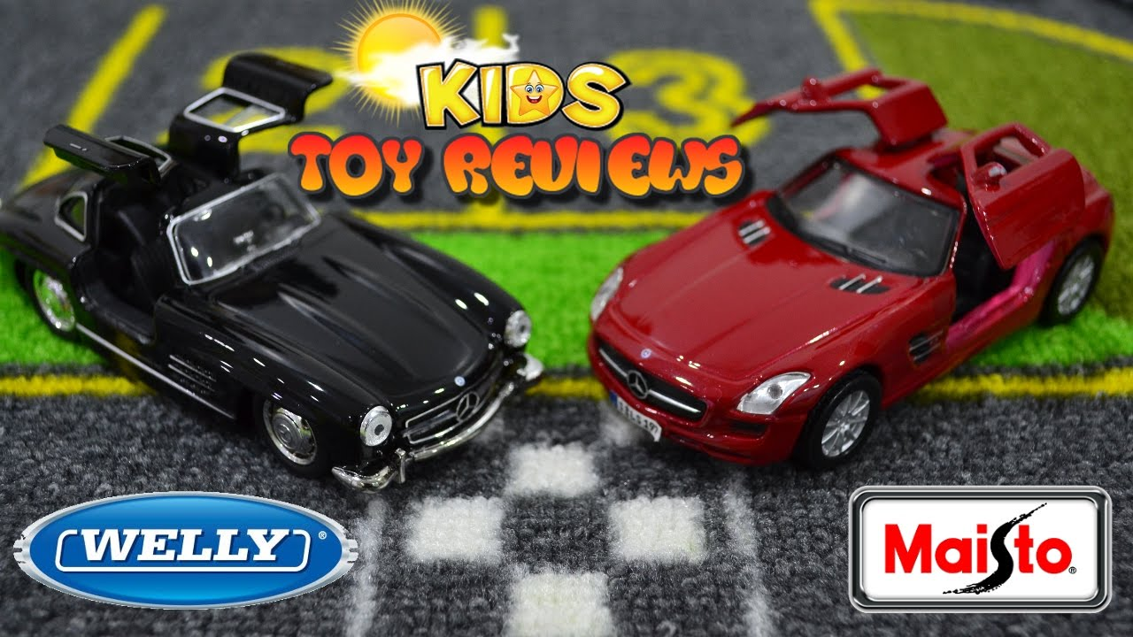 kids toy cars mercedes benz 300sl sls amg unboxing welly maisto diecast with kids toy reviews