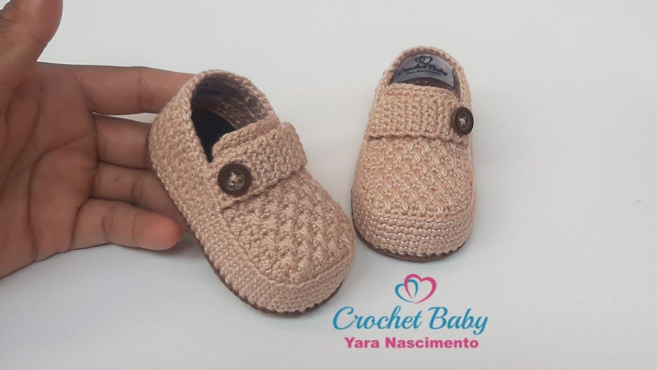 810df5a87c Mocassim THÉO FELIPPE de Crochê - Tamanho 09 cm - Crochet Baby Yara ...